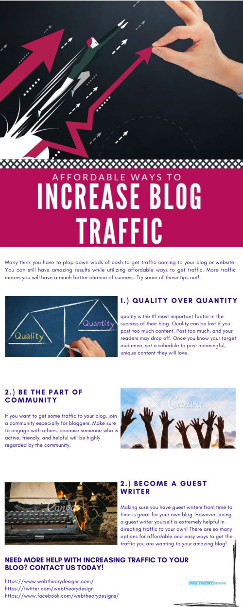 Here you will get affordable ways to increase blog traffic. Take a glance at the above post or follow the line given below.  https://www.webtheorydesigns.com/affordable-ways-to-increase-blog-traffic/